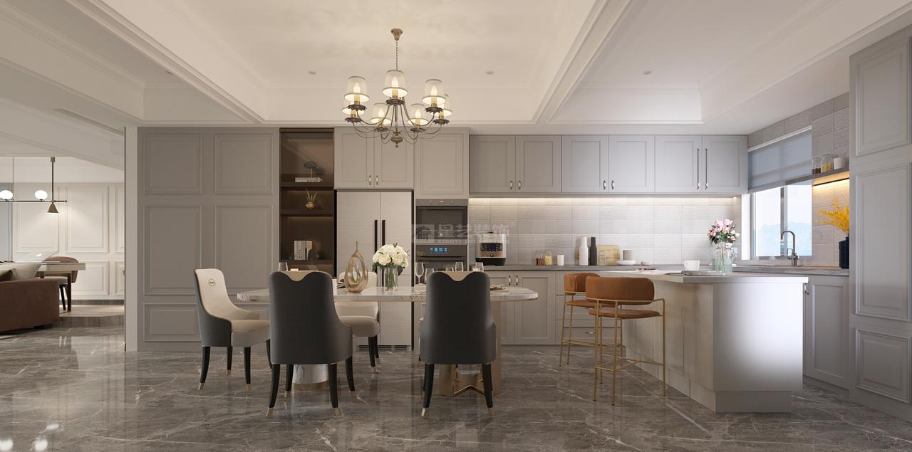 开放式餐厅厨房,打破空间的距离限制,让这里成为另一个家庭交流中心。延续客厅的色彩、氛围,亮眼黄铜元素的注入,增加了空间的时尚感,凝聚出美式的小资情调。