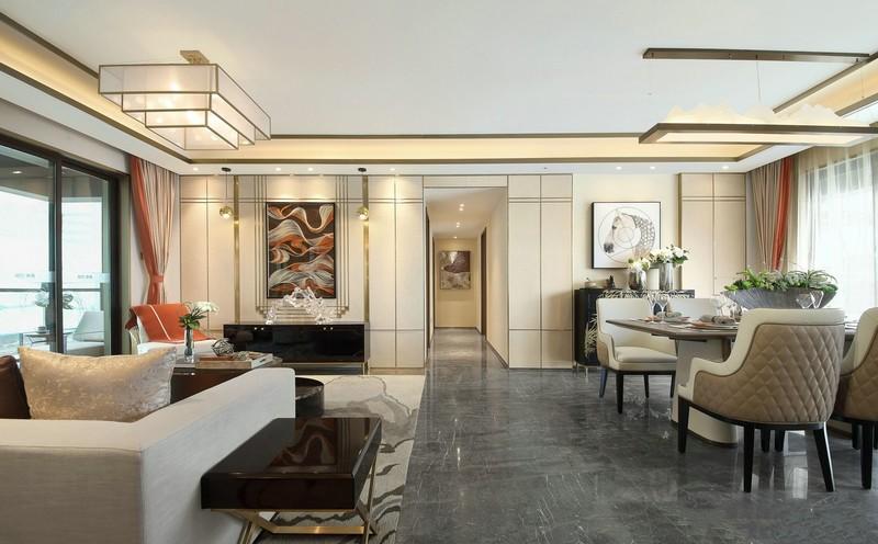 保利公园轻奢风舒适高贵而不失品味,,三居室,160.0㎡