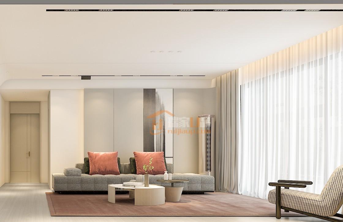 整组布艺沙发,颜色有别于一般的灰白米白色,而是一种带有特殊纹理的亚麻灰色,以简朴的形式呈现细腻的质感,搭配橄榄绿与皮粉色靠枕,释放活力,丰富空间的层次感。
