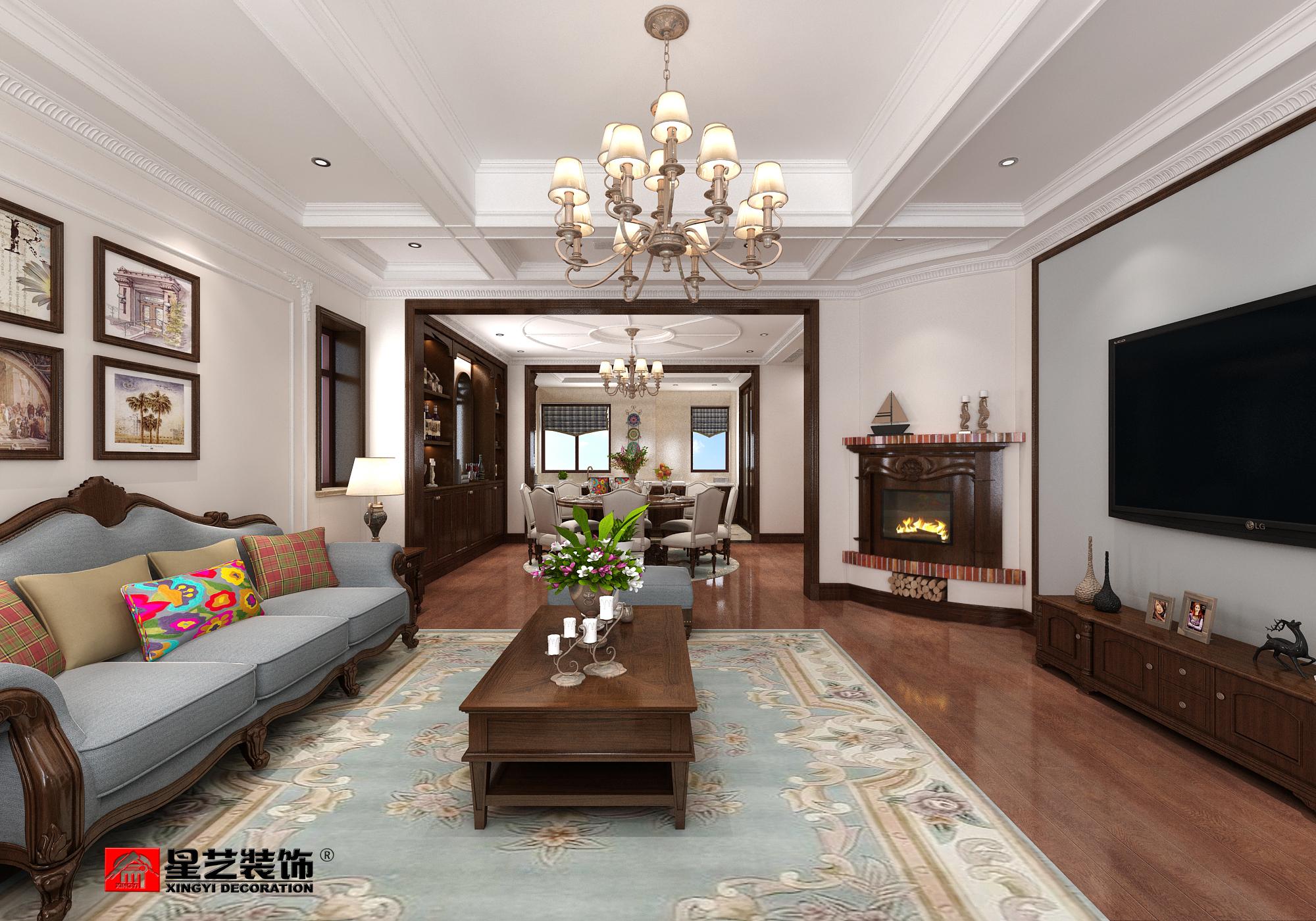 大连大户型装修设计_港式风格186平三室两厅