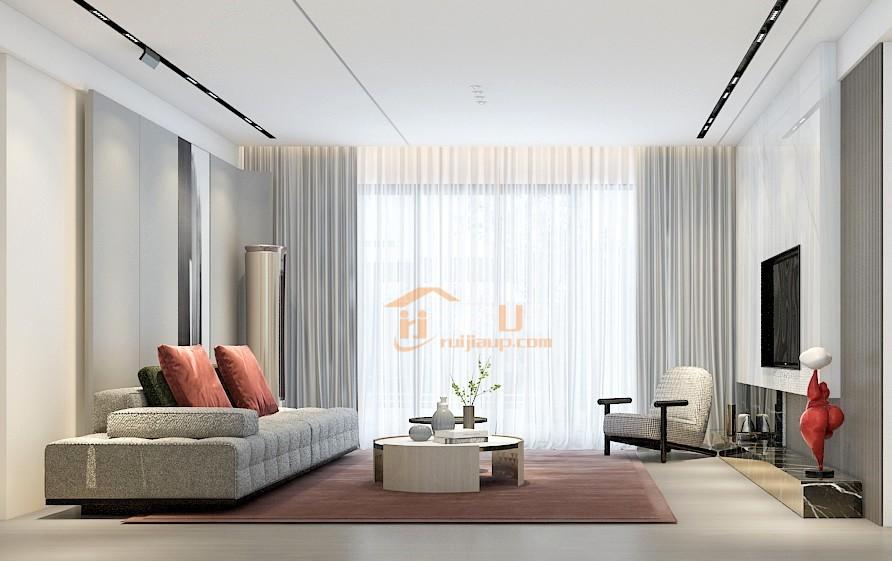 没有主灯的客厅,宽敞明亮,大气简洁,在灯带光源的点缀下,空间的延展性和流动性达到最佳。落地窗设计,保持空间通透感,整个氛围舒适静谧,让人享受。