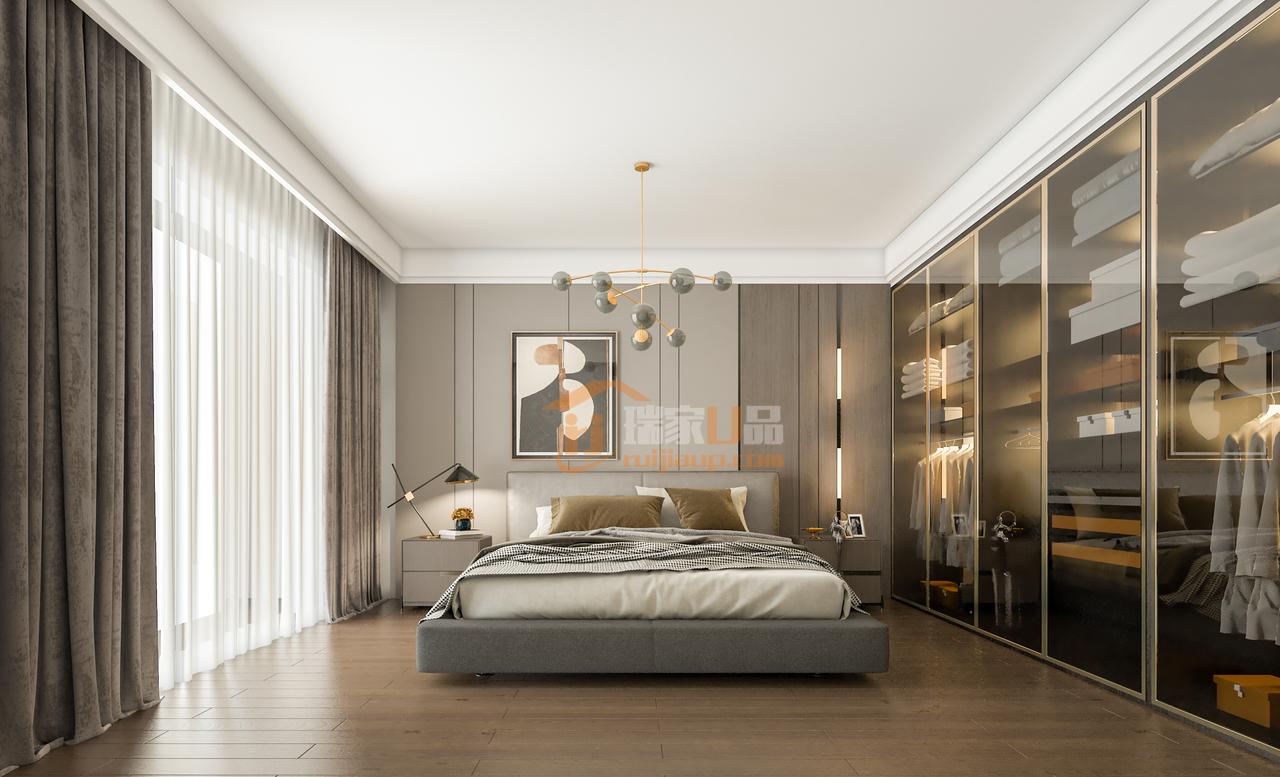 清爽利落,是给人的第一印象,没有过多装饰,视觉中足够的留白,释放身心。茶色玻璃衣柜,精致美观,搭配金属质感,衍生出一种奢华感,提升整个空间质感。大量光线从窗外涌入,清新自然,传达出轻盈感和饱满感,室外风景与室内融为一体,妙不可言。