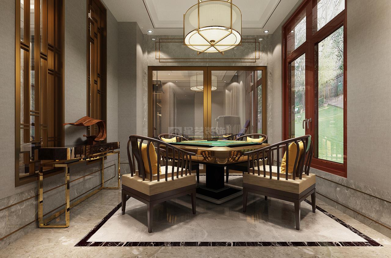 玻璃材质的特殊性,使得空间采光性较好,保证空间的通透性;中式桌椅和窗户的设计,让整个空间更有质感。