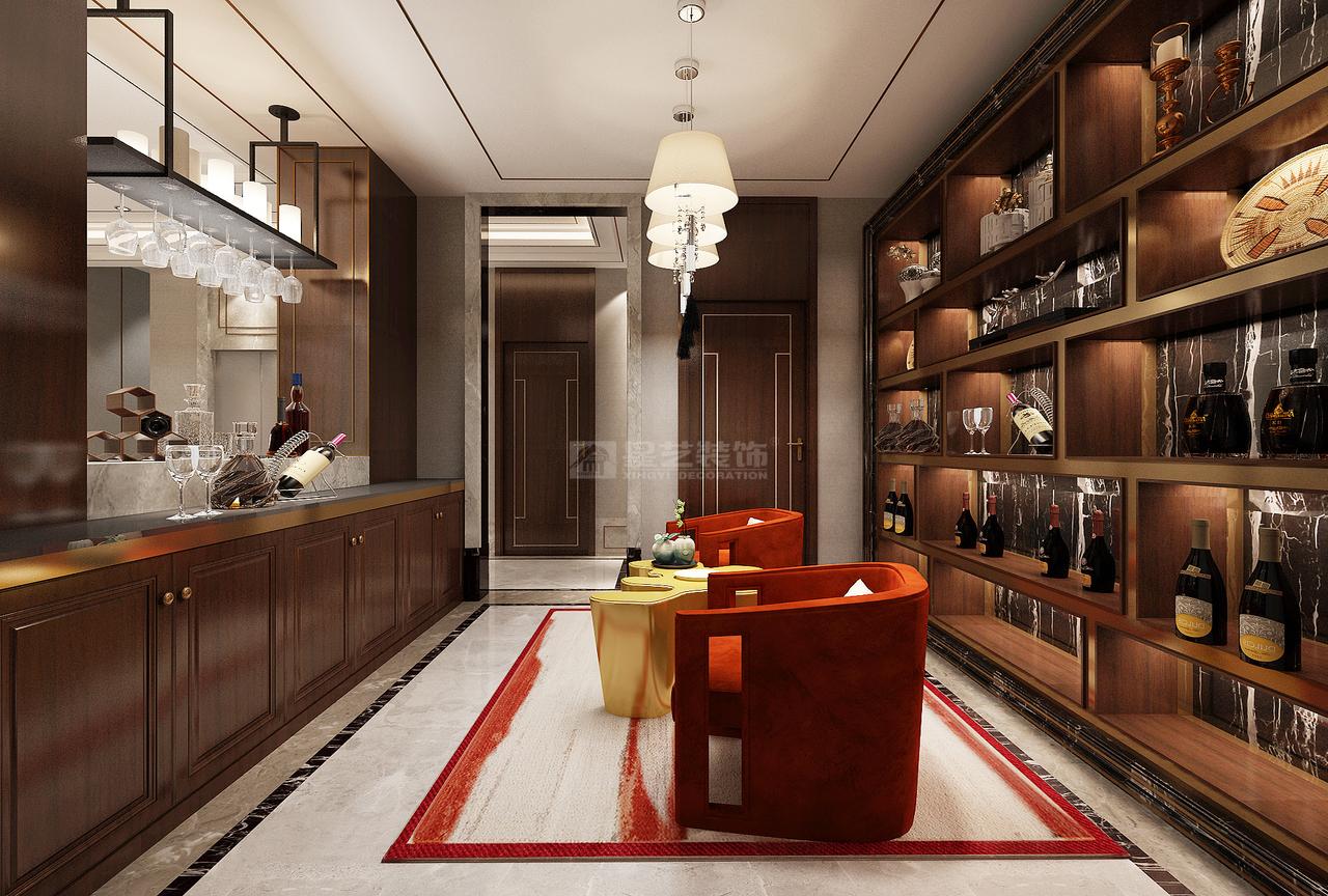 选用棕色实木做吧台和酒品博古架,自然精致。 吧台椅选用大胆的橘红色和向日葵黄色,打破传统中式的厚重感,为空间注入活力,轻松灵动。