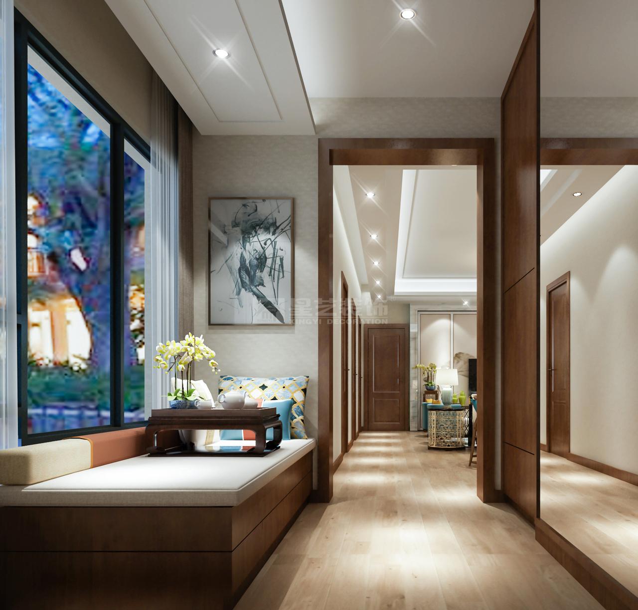 入户玄关处以实木色为主调,暖色调壁灯的映衬下,渲染温馨雅致的氛围。增加飘窗柜设计,或休闲观景,或静坐看书,打造一个可以小憩的空间。
