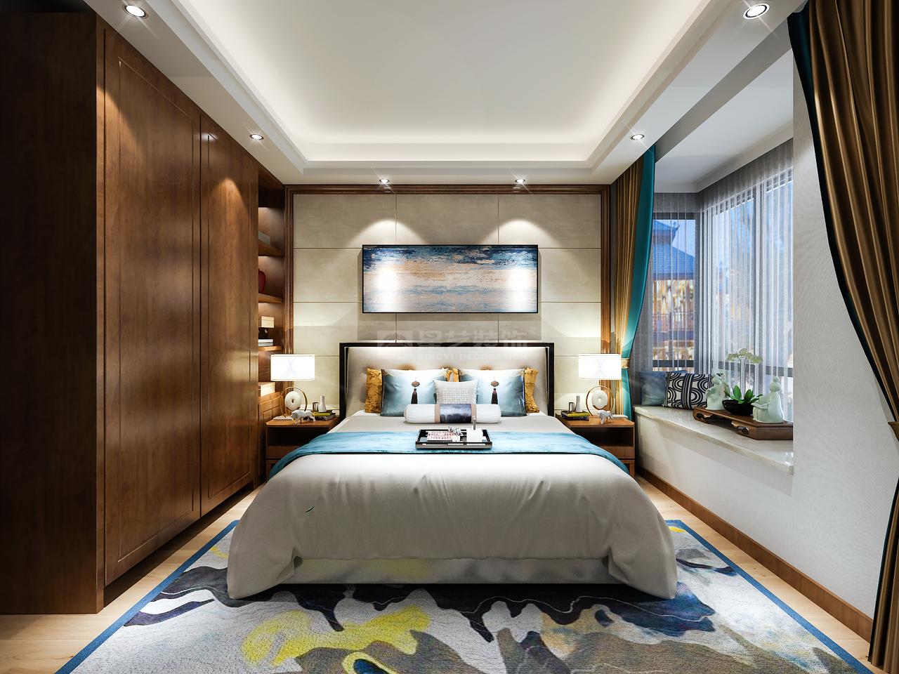 整体以素色铺陈,简单大方,水蓝色与湖蓝色,深浅变化,简洁的同时保证空间的层次感。无主灯设计,光线柔和,营造适合休息的氛围。飘窗的设计,独立优雅,打造端庄典雅的卧室空间。