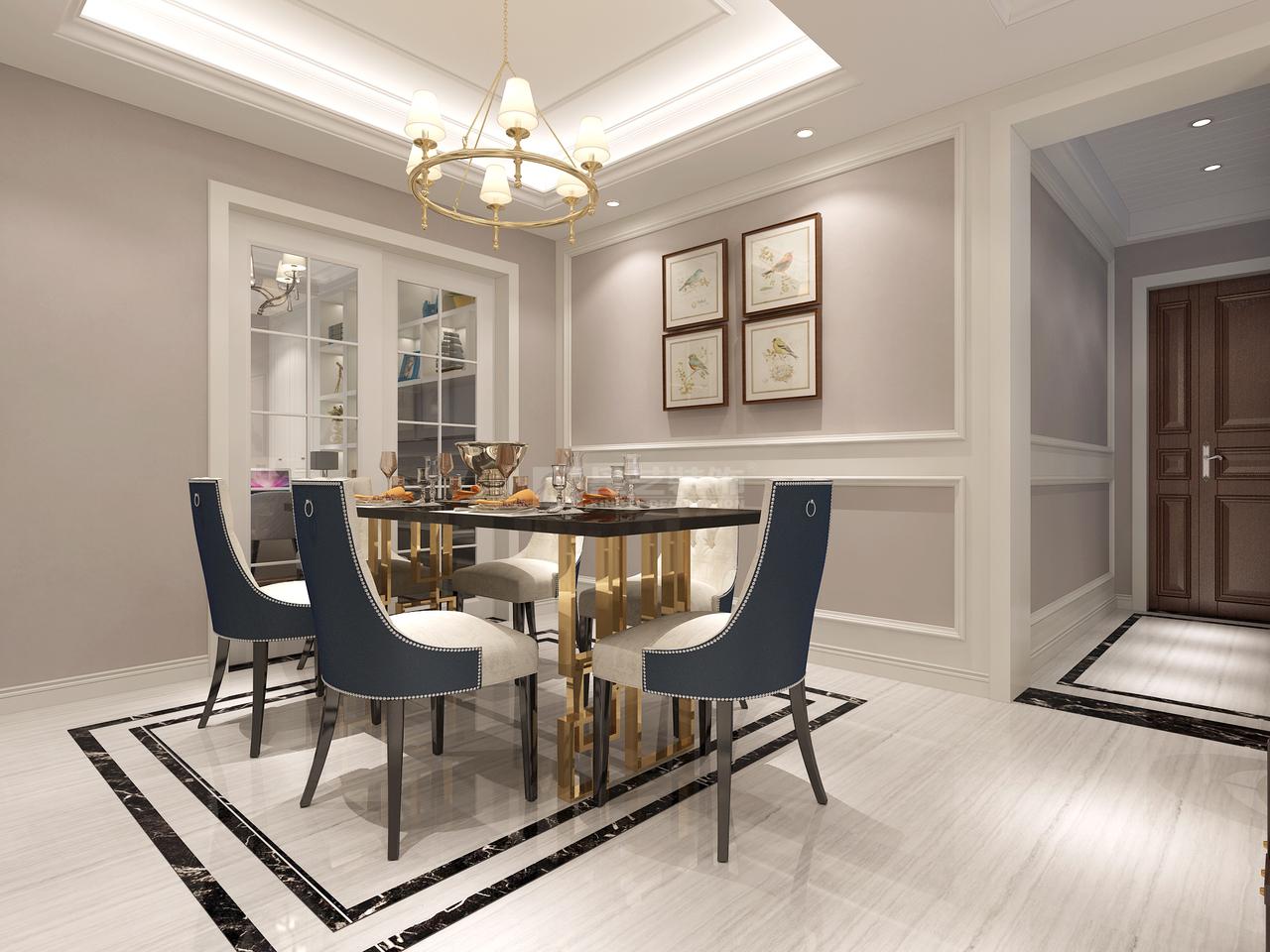 美的林城简欧,简欧,单身公寓,145.0㎡