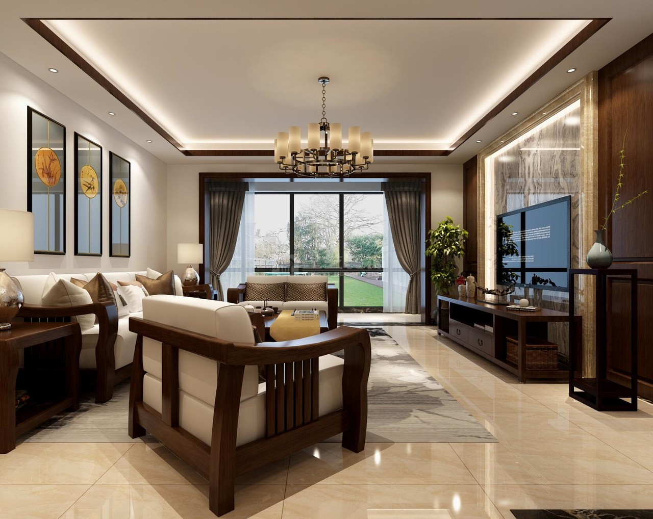 观山小区新中式,新中式,三居室,160.0㎡