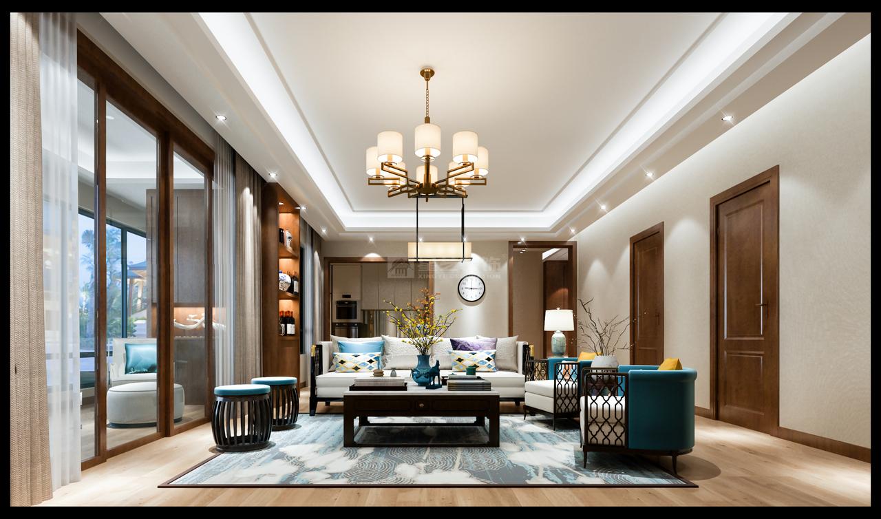 客厅直连阳台,落地窗设计让视野更开阔,舒缓疲惫。 木色纹理变化自然,与水墨元素融为一体,端庄大气,意境悠远。 新中式风格的沙发,实用经典,优雅白搭配湖蓝、淡黄色,轻松休闲,让人心情愉悦。