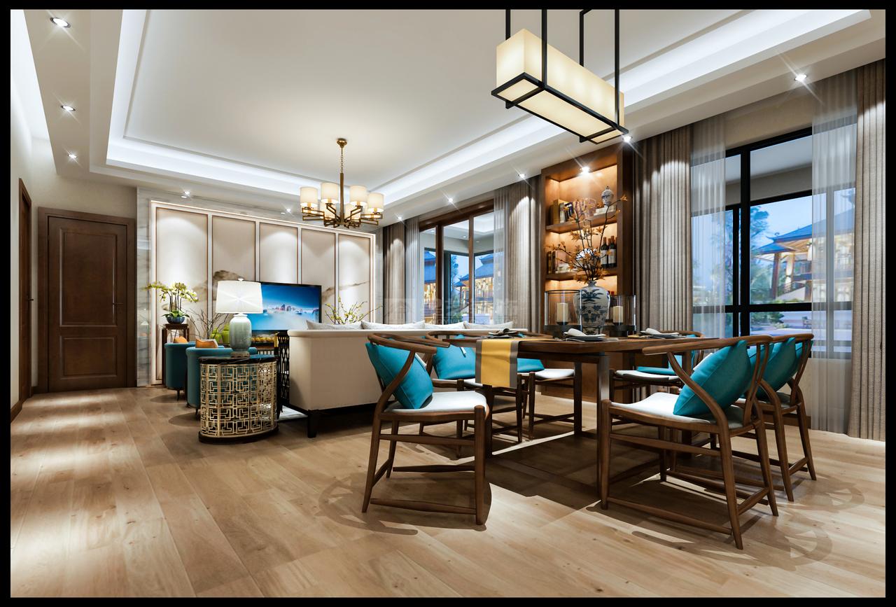 开放式餐厅与客厅同在一个空间内,家人间的互动联系更紧密。传统的中式餐桌椅,带有独特的古朴韵味。灯带光源下的橱柜,更像是艺术展厅,岁月安好,静自美丽。