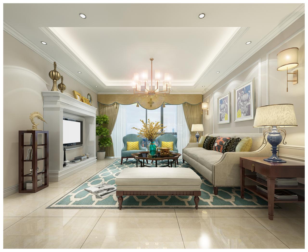 中天未来方舟彰显华美、富丽、浪漫气氛的简美风,现代,美式,三居室,120.0㎡