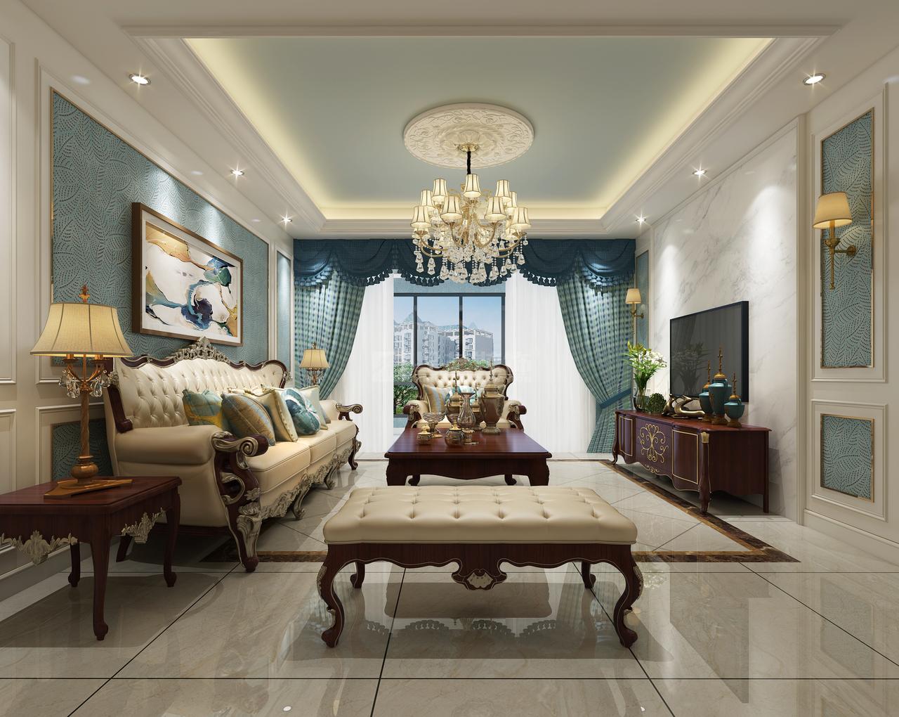贵阳天誉城意在营造舒适、大方居家氛围的简美式装修效果图,美式,别墅,180.0㎡