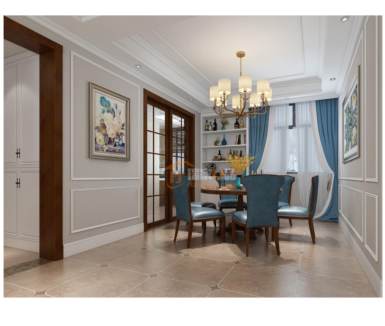 贵阳美的林城时代现代美式风格餐厅装修设计效果图!