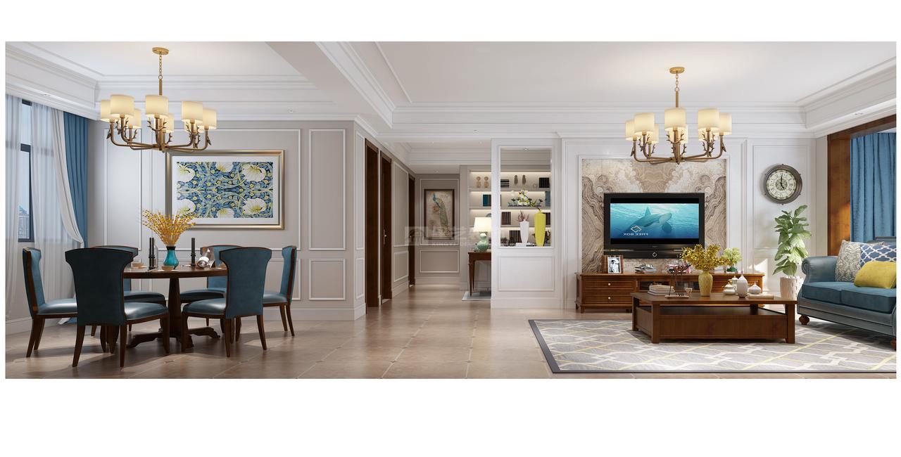 贵阳美的林城时代现代美式风格客餐厅装修设计效果图!