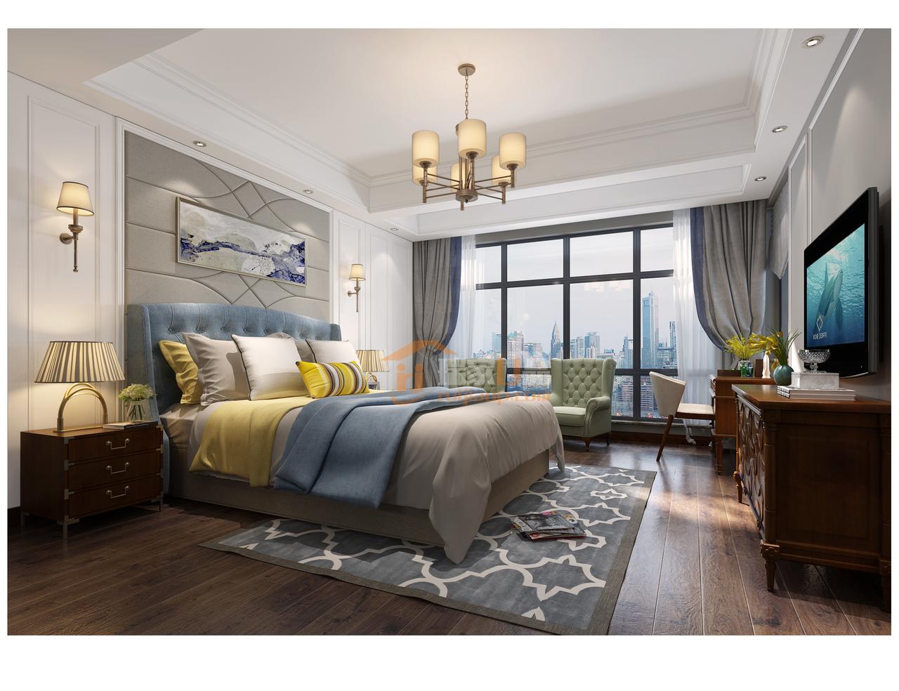 贵阳美的林城时代现代美式风格卧室装修设计效果图!
