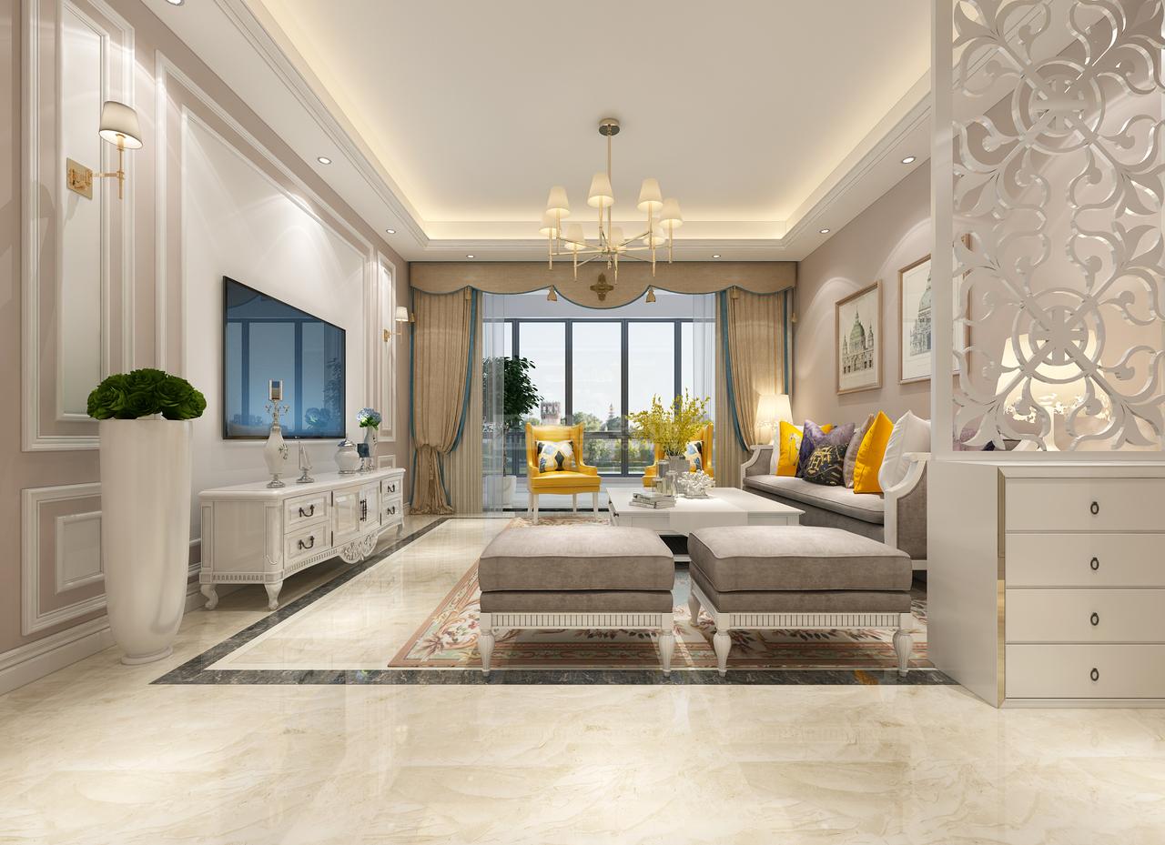 珠江湾畔诺丁山简欧,简欧,单身公寓,100.0㎡