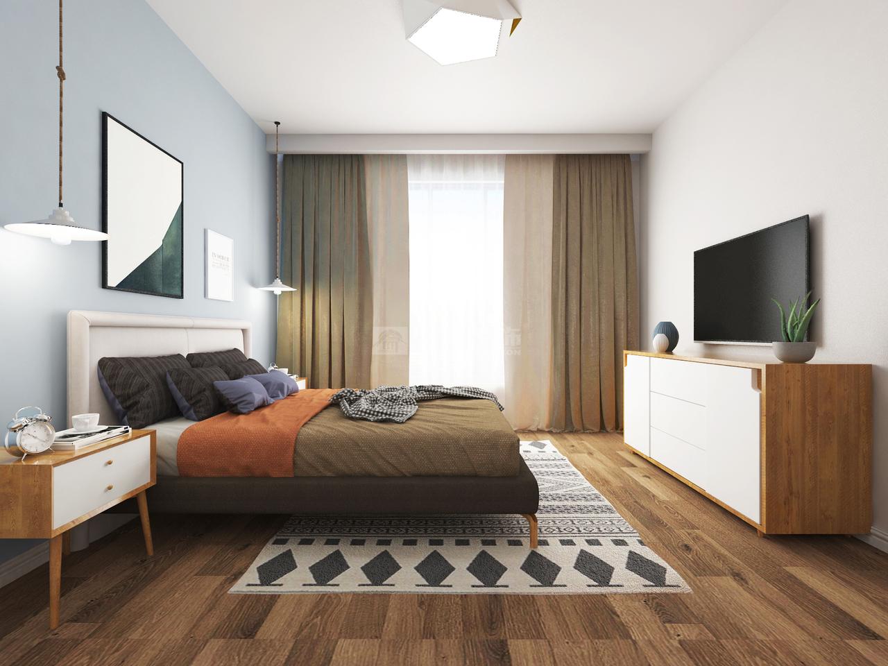 美的林城时代A简约,简约,三居室,120.0㎡