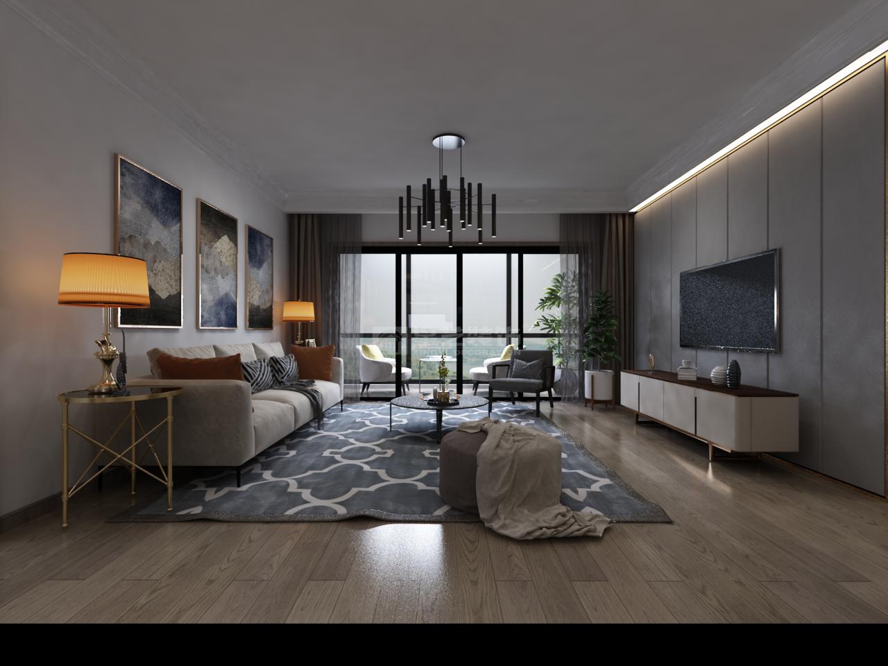 贵阳观山小区给人心境的安定与富足简约装修效果图,后现代,单身公寓,120.0㎡