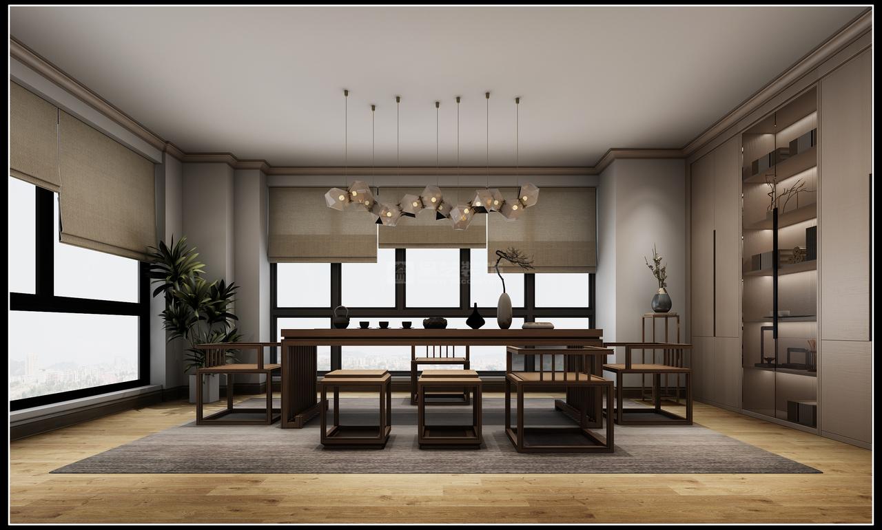 【中天会展城】以现代审美打造富有传统韵味的新中式风!,日式,别墅,445.0㎡