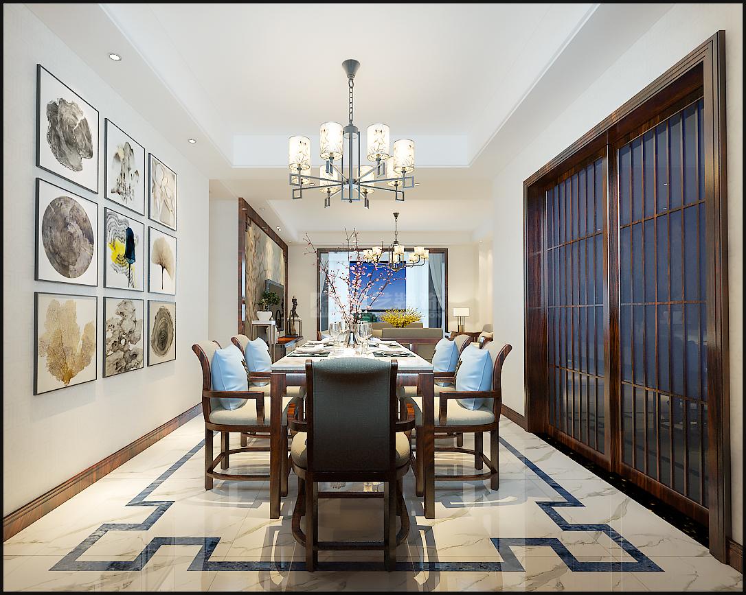 贵阳睿力上城注重生活质感与品位的新中式装修效果图,中式,别墅,150.0㎡