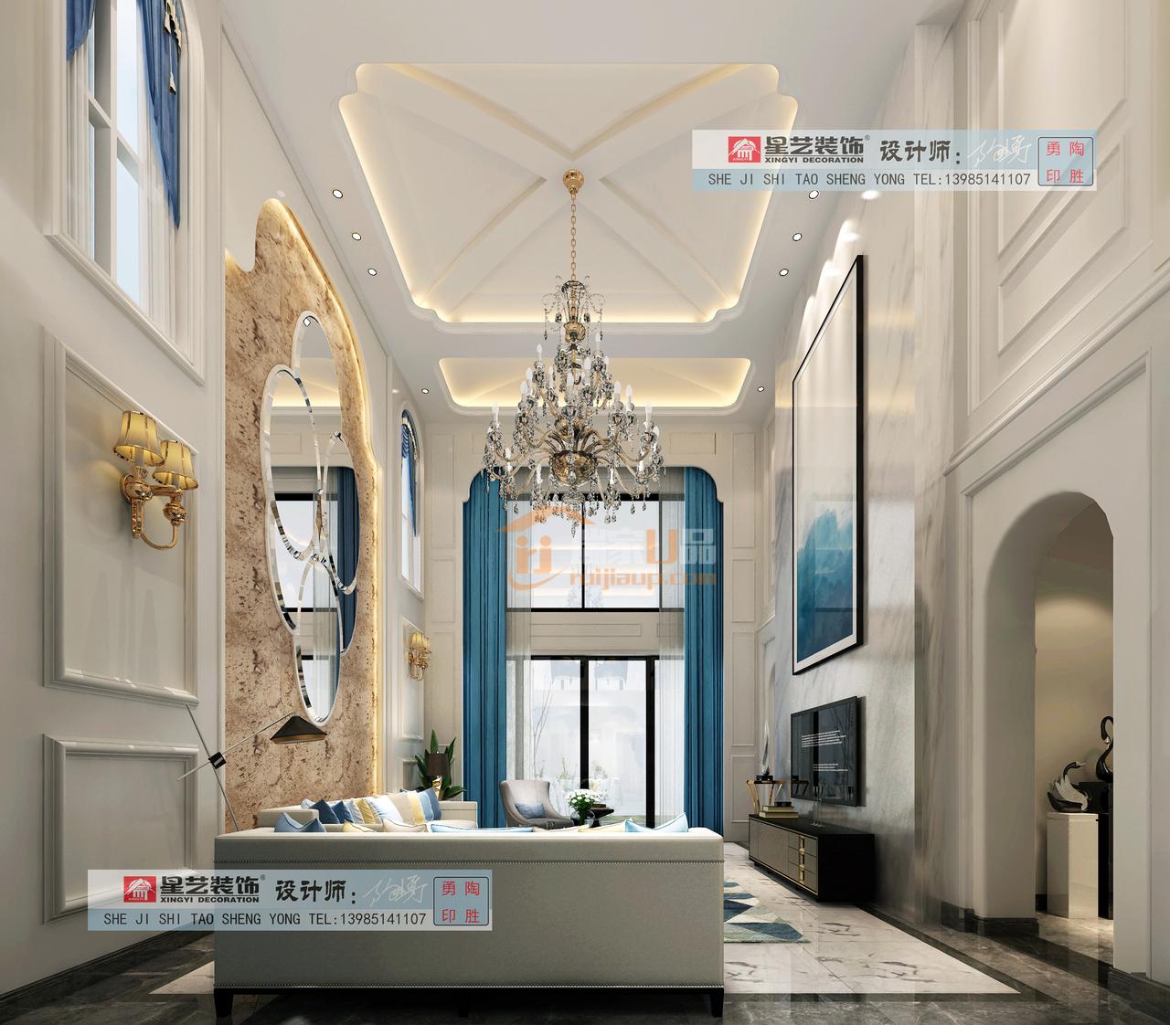 中铁生态城白晶谷地中海风格 , 白色+蓝色结合共同演绎灵动之感  ,贵阳星艺