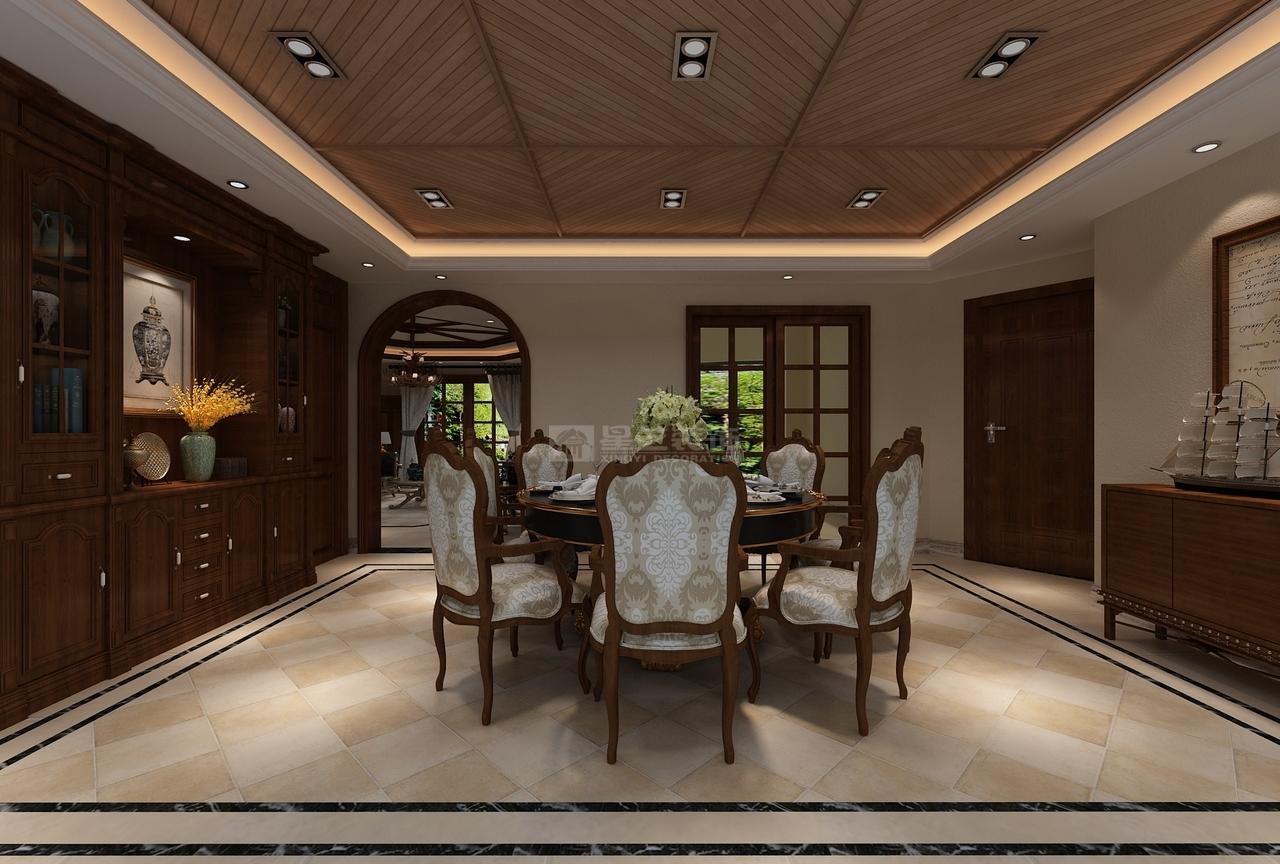整个餐厅空间餐桌及软装的精心配饰,颜色的合理搭配营造出一种精致而奢华的气氛,体现主人的特有品位。