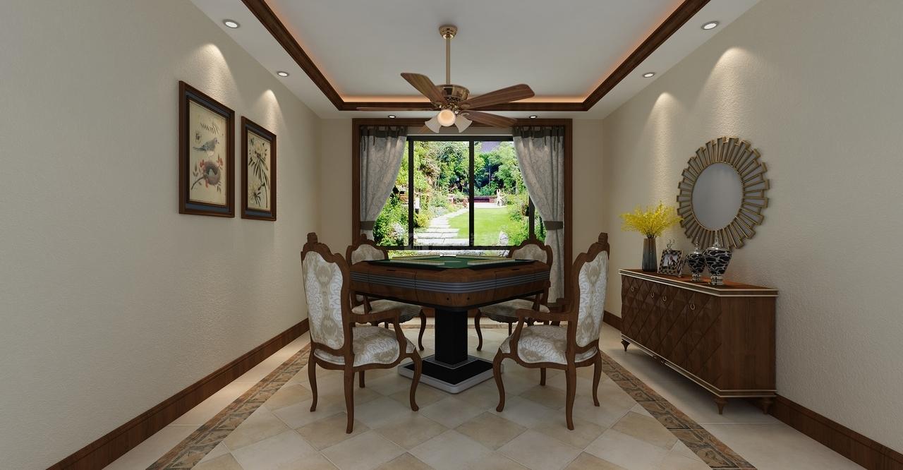 高端大气的吊顶和同色系的麻将桌,带有美式建筑的复古氛围;墙上的装饰挂画、桌上的美丽插花,营造出了浓浓的美式气息。