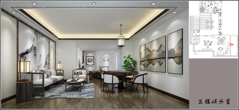 贵阳别墅装修,中天花园别墅装修,新中式效果图,星艺装饰,别墅设计