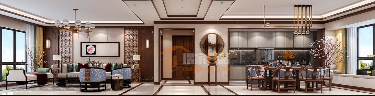 吊顶是传统的石膏线吊顶,采用棕色实木边框走一圈,作为装饰,稀释纯白吊顶的单调感,搭配金属边框的节能吊灯,整个空间呈现出典雅又不乏时尚的特色,安宁又惬意。
