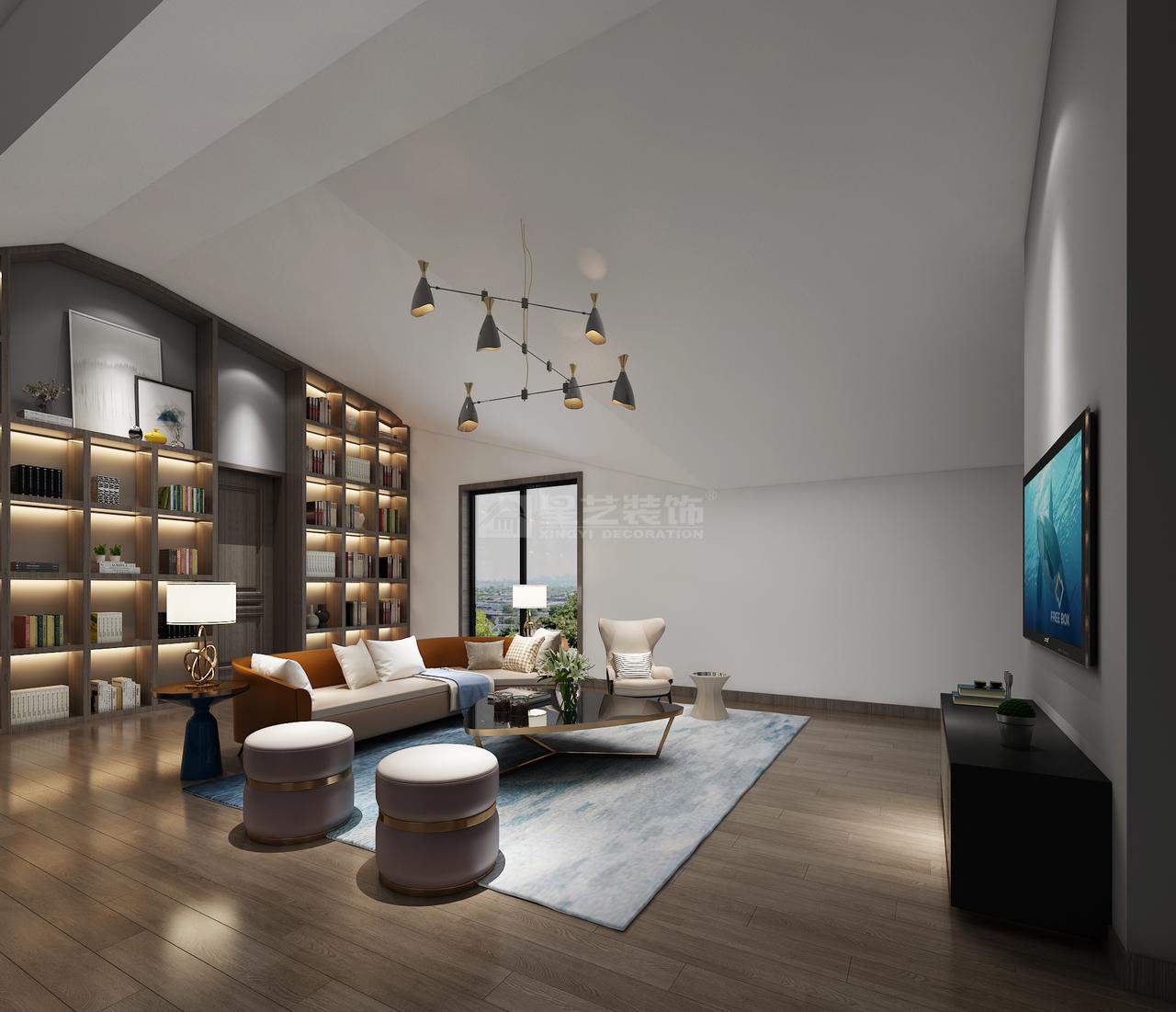 简约的时尚,简单的幸福,保利公园现代简约风格客厅装修设计效果图!