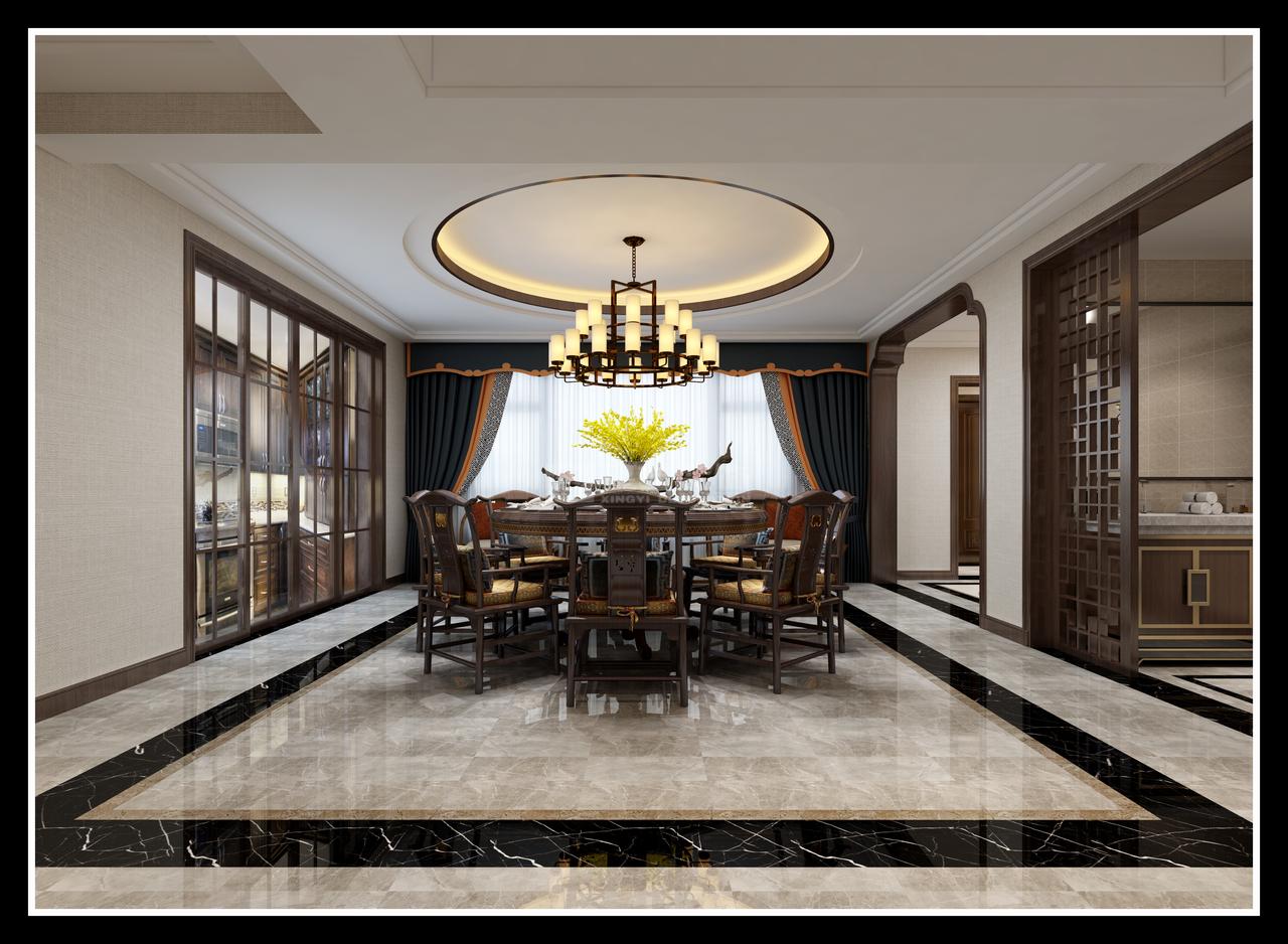珠江湾畔香溪墅新中式别墅古典东方自成大雅,新中式,别墅大宅,500.0㎡