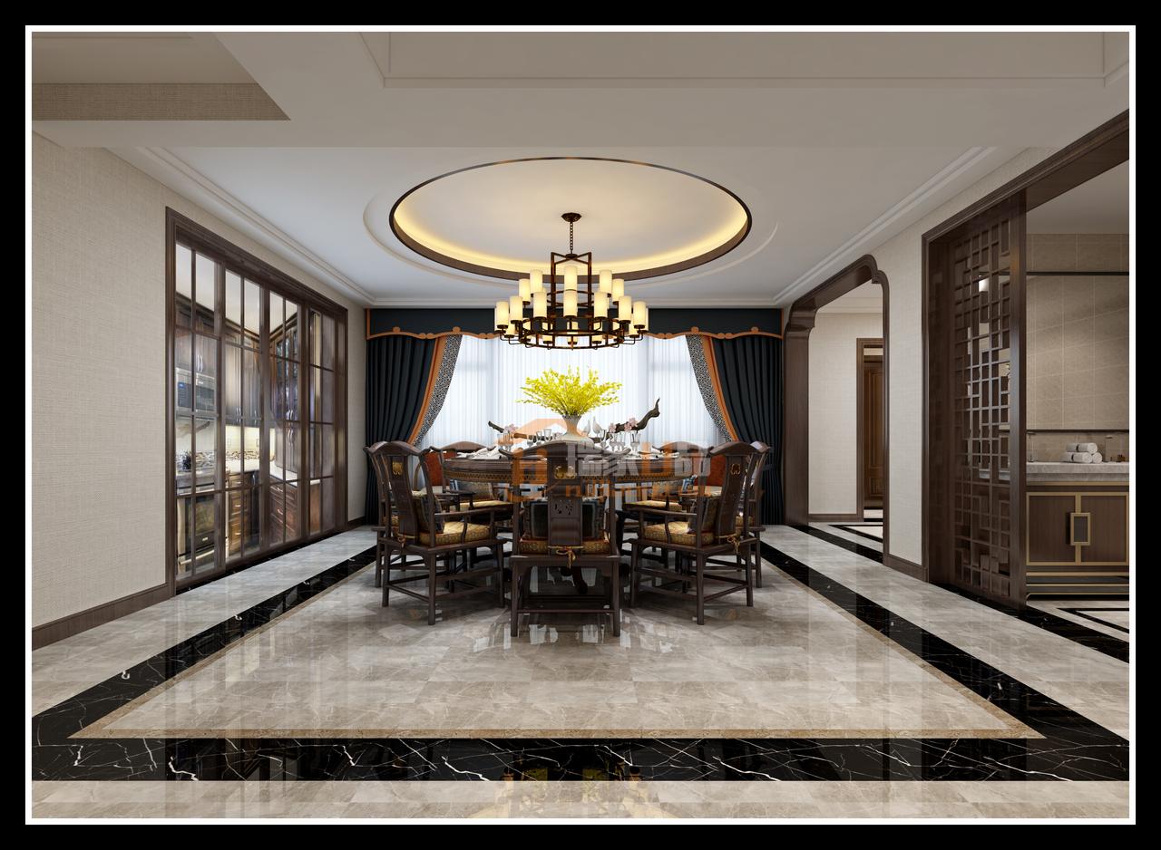 贵阳珠江湾畔香溪墅500㎡新中式别墅装修设计,别墅装修设计预约电话:0851-84875896.