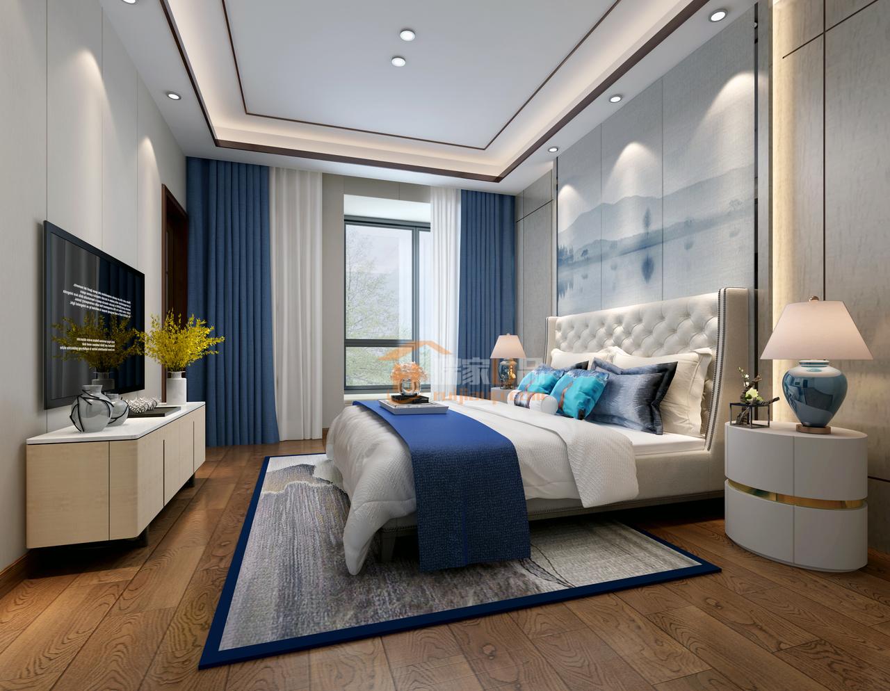 贵阳宇虹万花城复式楼装修,新中式风格设计效果图,预约此设计:0851-84875896.