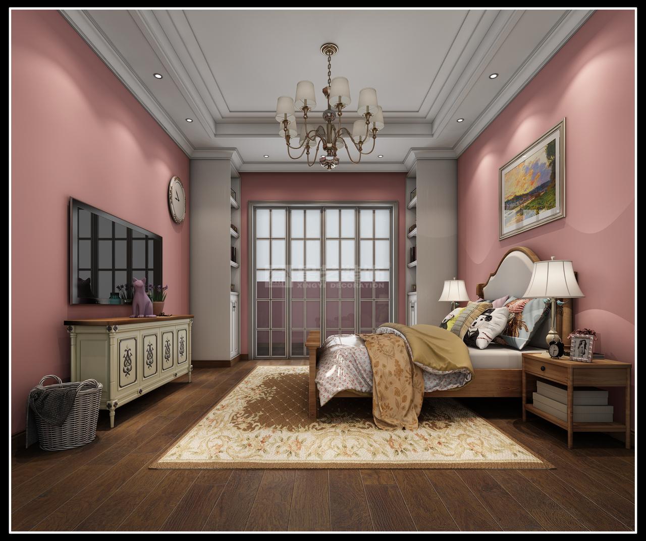 摒弃了繁华的装饰整体采用明快的色调设计风格上结合新美式家具配合美式文化元素从复杂到简单从整体到局部。