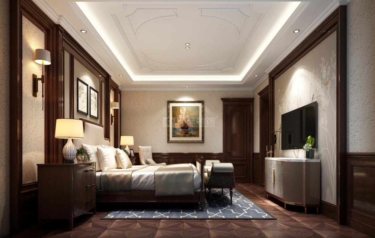 美式风格的卧室布置较为温馨,作为主人的私密空间,主要以功能性和实用舒适为考虑的重点,一般的卧室不设顶灯,多用温馨柔软的成套布艺来装点,同时在软装和用色上非常统一。