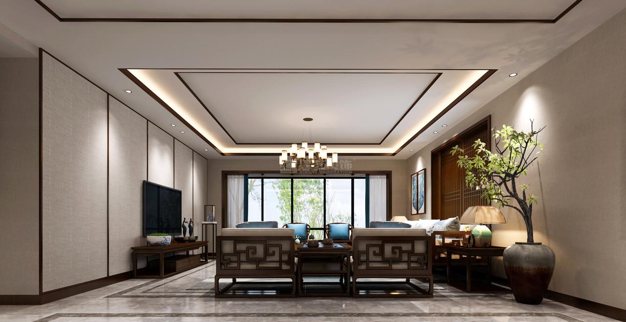 客厅电视背景墙采用了留白的设计手法,让客厅构图更显协调,避免压抑感。将中国特有的东方美学,极具意境之美,表现的淋漓尽致,可谓此处无物胜有物。