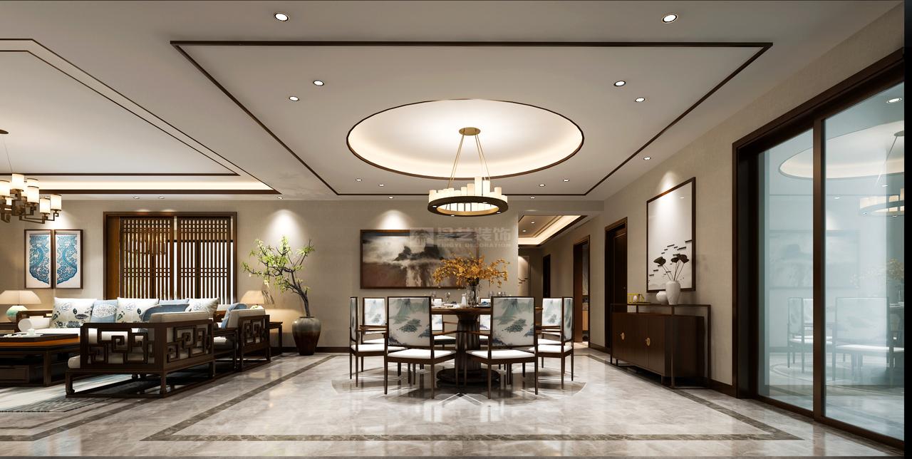 餐椅更是融入了一幅幅描绘着缥缈烟岚的水墨画,将中式风格的特征注入,打造出更贴切当下审美风格的就餐空间,格调更显高雅端妍。