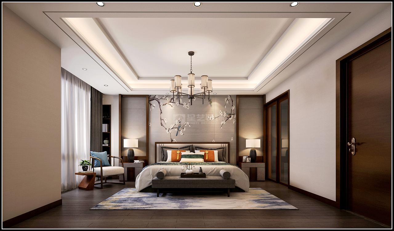 主卧床头始终都在诉说对中式文化的钟情之意。汲取中式窗框的元素,以妙笔作花鸟图,和对时尚品味恰到好处的拿捏,生出别样风情。