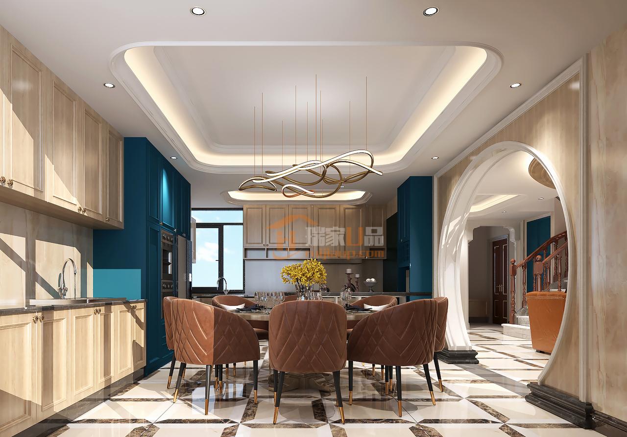 本案例由贵阳星艺装饰设计师罗丹和许青海所倾力打造。区别于传统的美式风格,本案例不在以黑白灰为主色调,而是增添了一抹淡绿色和蓝色以及棕色,以线条流畅美加上挂饰修饰。使整个家居空间更有格调和艺术感。