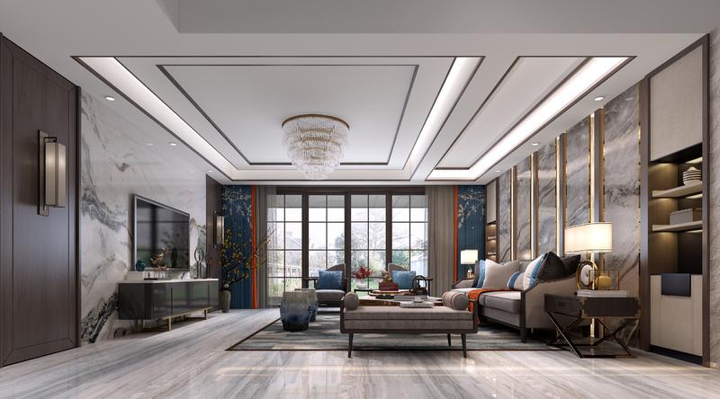 新中式,室内设计,效果图,星艺装饰,星艺装饰,装修效果图,轻奢