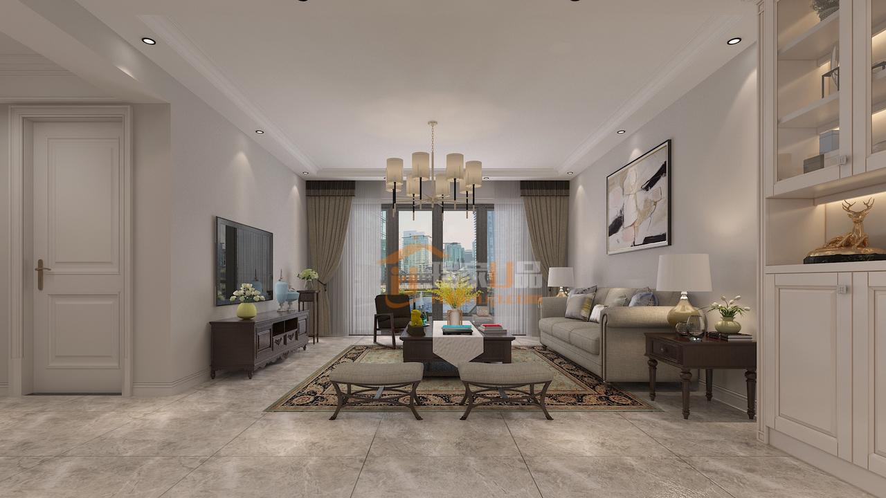 贵阳南岳大院装修设计效果图,设计风格定位为现代风格,在软装家具上结合小美式,打造了一个白色质感家居!
