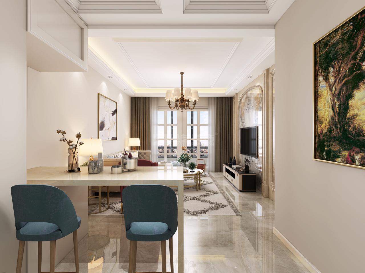 【群升大智汇】展现现代都市气息的新中式风格!,美式,别墅,130.0㎡