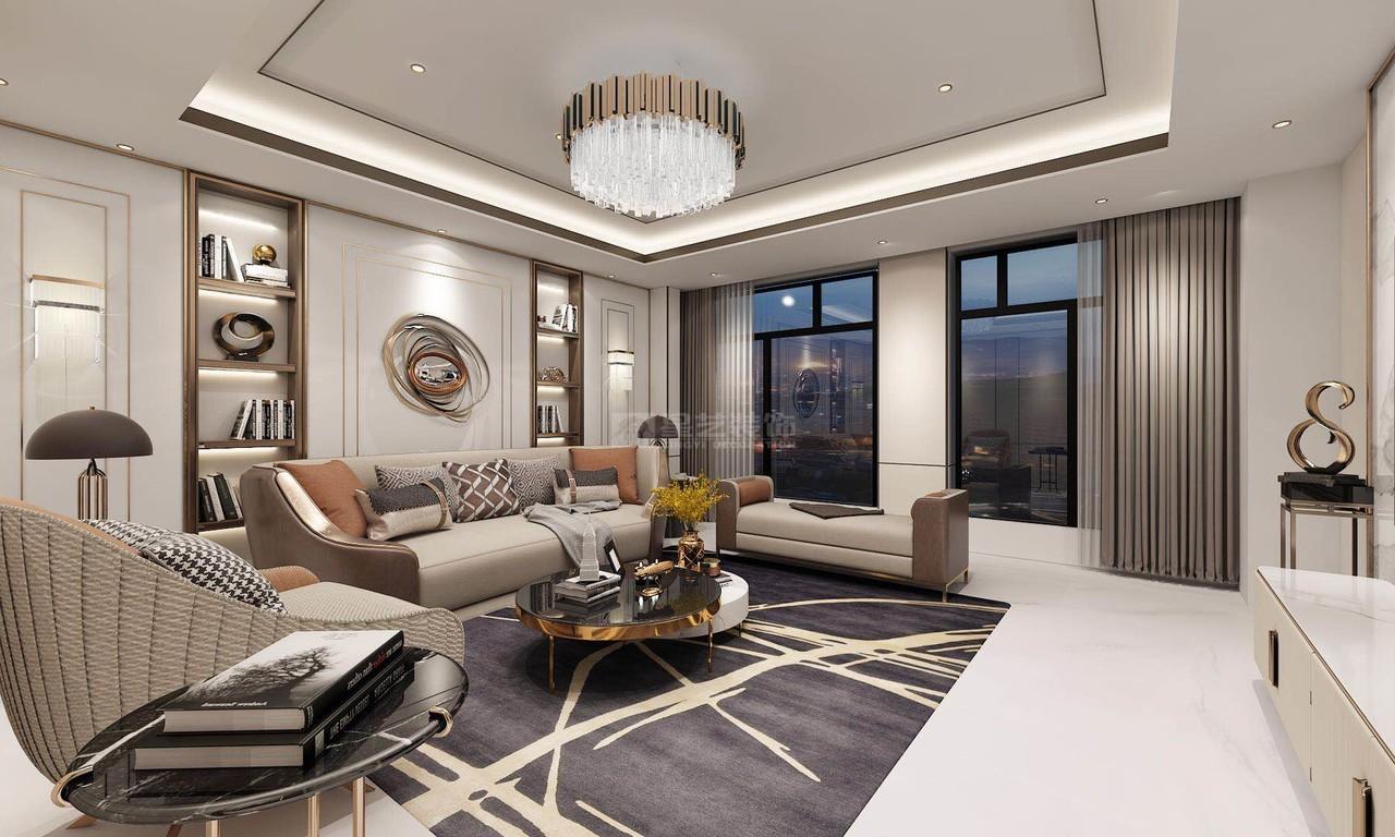 贵阳现代轻奢风格设计效果图-客厅