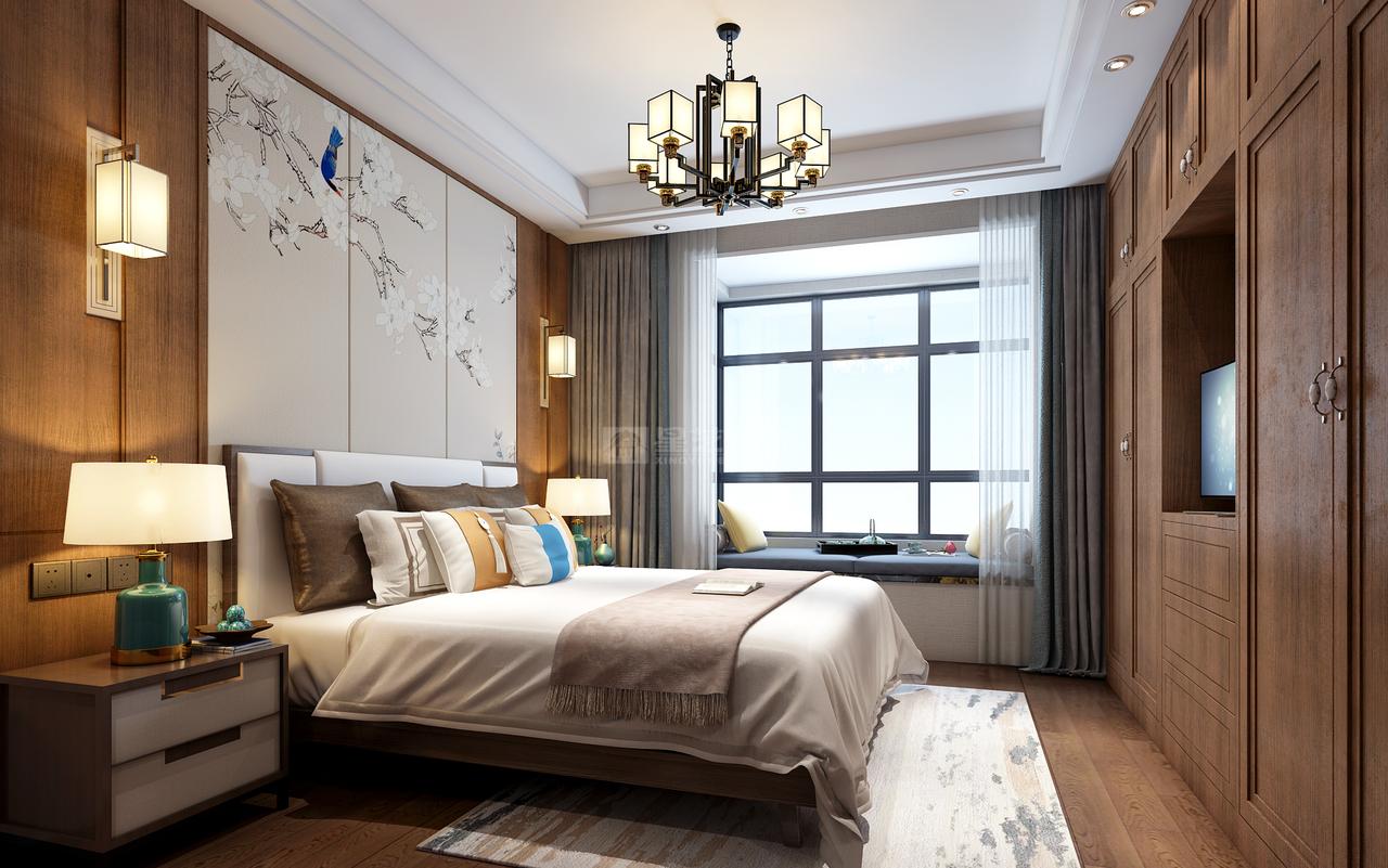 看南岳大院新中式如何将传统风韵与现代舒适感完美融合!,新中式,三居室,115.0㎡