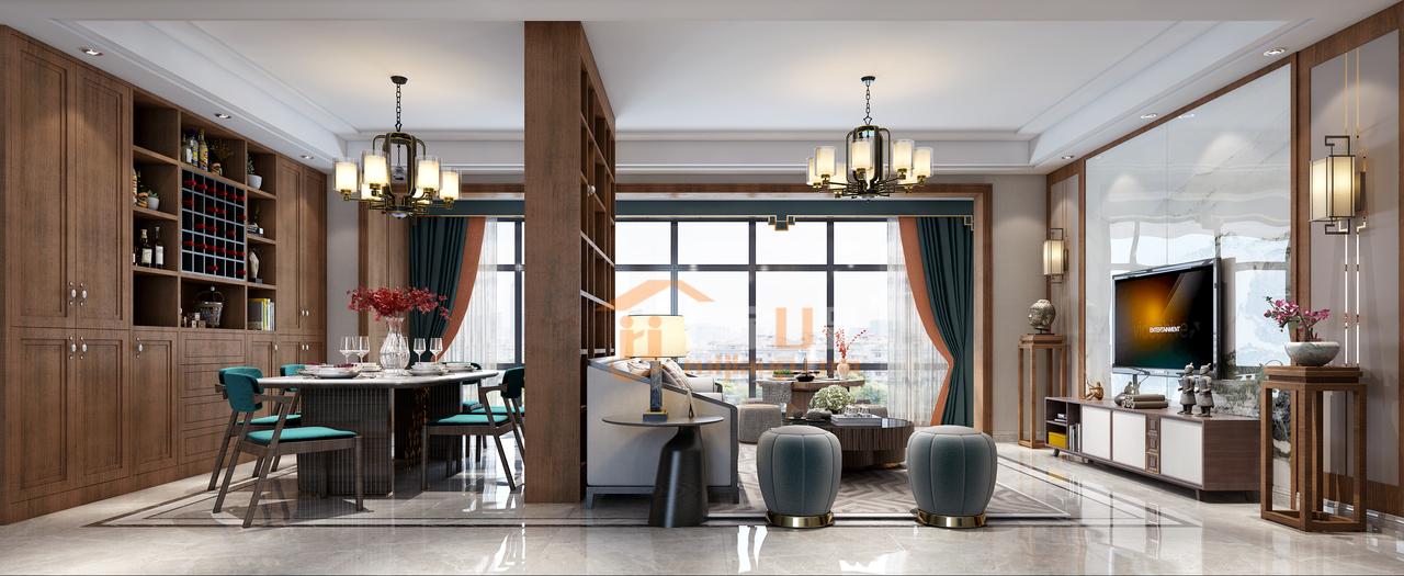 贵阳南岳大院115平新中式风格装修设计效果图!设计预约:0851-84875896.