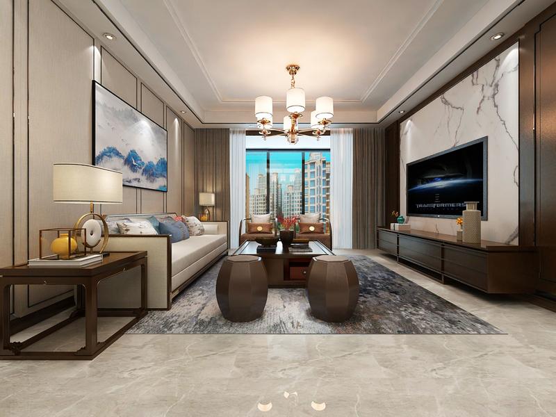 贵阳万科公园传奇新中式风格装修设计!,美式,单身公寓,㎡