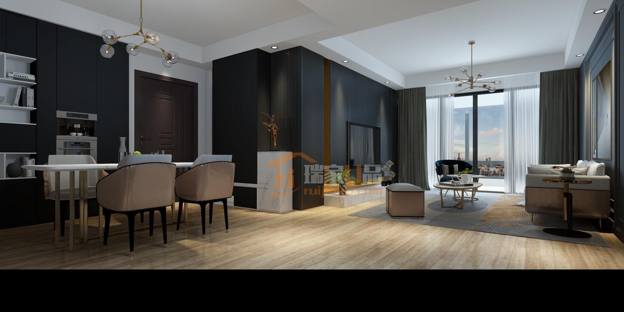 客厅、餐厅采用一体化开放式布局,气氛利落贯通,视线一览无遗。融合的同时依然保持功能分区的独立,清晰流畅的线条层次营造了流动性的空间氛围。