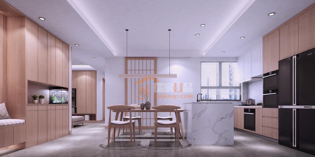 小户型空间,家具的数量一定不要过多,以避免让狭小的空间变得更加拥挤,餐厅简约的原木餐桌,以及开放厨房的设计,让整个空间变的空旷大方。
