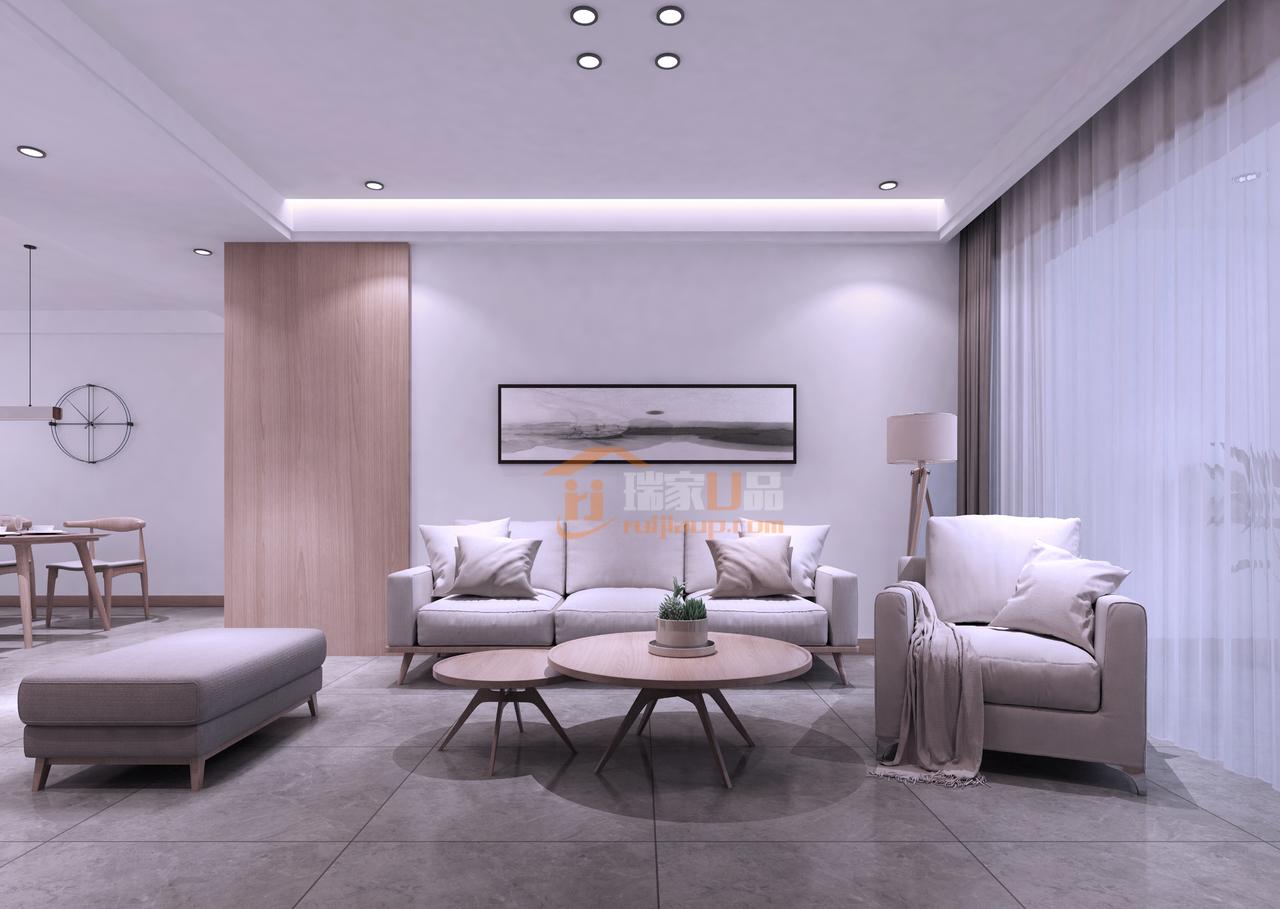 三人位的灰色布艺沙发加单人沙发,简洁时尚的原木色茶几,完全可以满足正常家居生活的所有需求。米白色的墙面颜色,看起来真的很温馨。