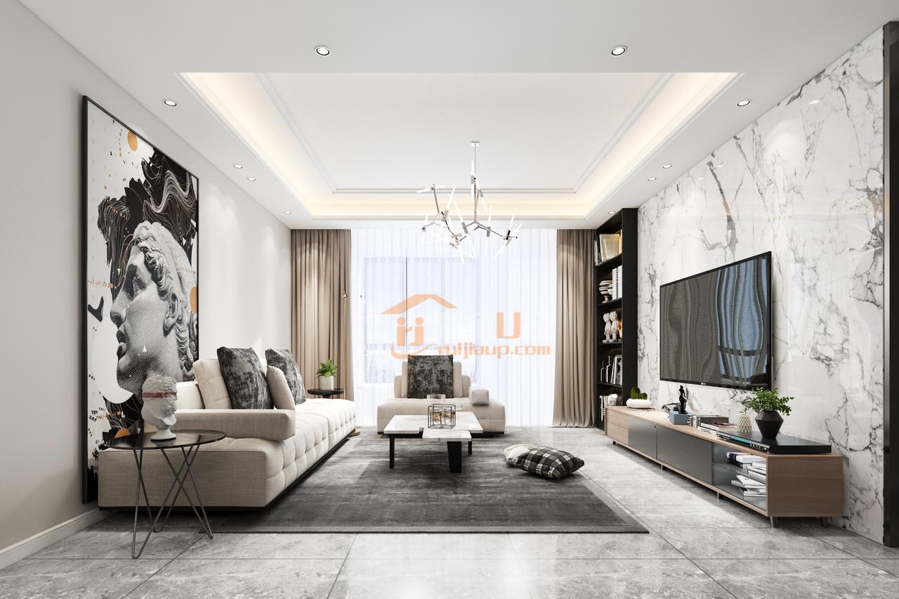 贵阳国电金海域新房126㎡的私人住宅,设计风格选择是现代简约风格!